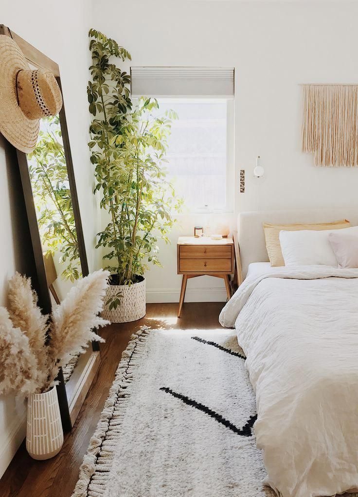 pampas grass in boho bedroom + simple bedroom idea #pampasgrass #bed