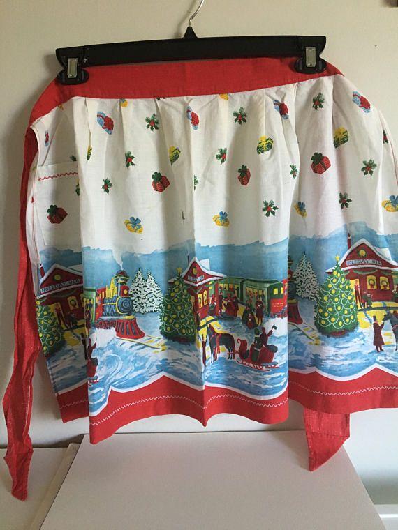 Christmas Apron Vintage Fabric Charming Holidays