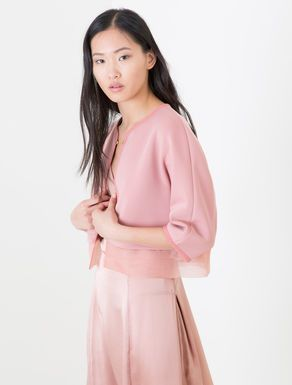 Scuba and organza cropped jacket