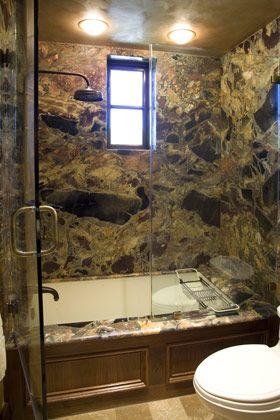 Master Bathroom: Mediterranean, Tuscan, European Architecture, hardware, European faucet, recessed can lights, glass enclosed Bath tub/shower, stone shower wall, wood window, wood casement window, stone floor