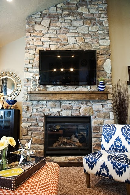 fireplace. rustic mantle