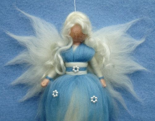 Needle Felted Wool Winter Fairy Fairies Doll Soft Sculpture Wool Craft Waldorf Inspired