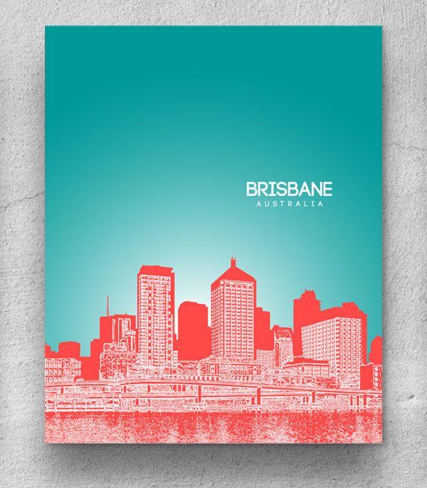 Brisbane Australia City Skyline / Hometown Wall Art Poster / Any City or Landmark. $20.00, via Etsy.