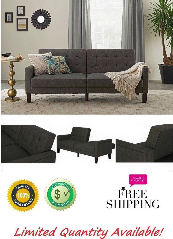 Modern Bed Sleeper Convertible Couch Futon Living Room Gray Wood Furniture #ModernBedSleeperConvertibleCouchFuton