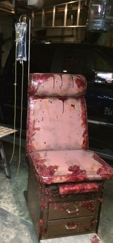 doctored up medical chair for haunt by halloween forum member trex