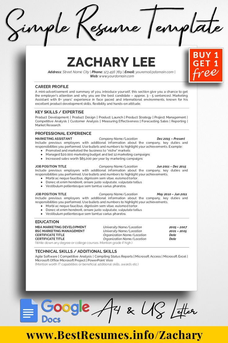This Simple Resume Template Is A Professional And Clean To Help You