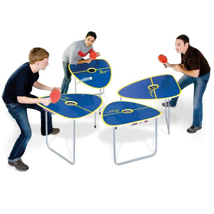The Quad Table Tennis Game.  This is the tennis table game with four separate tables that pits up to four players against one another for unpredictable, exciting play indoors or outdoors. Players can hit the ball onto any opposing player's table, ensuring angled bounces and caroms that require quick reflexes and dives for point-saving returns.