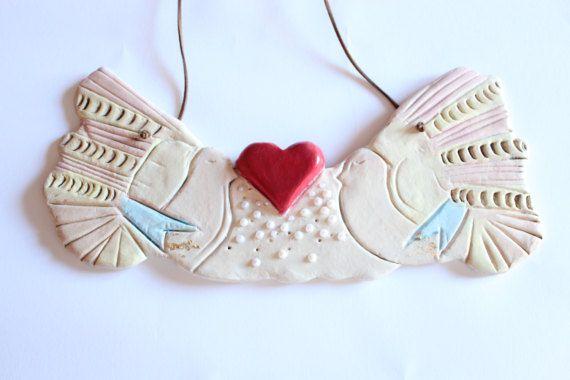 Two Lovebirds / Clay /  Deco Item by maryscreativeworld on Etsy