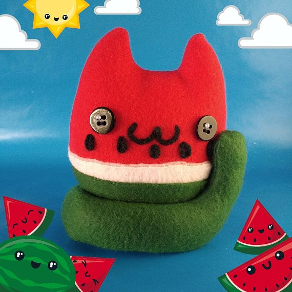 """They're soft, they're cute, and they look delicious! Cat Food Plush is a line of original designs from PushyPushyUpDownGo. Whether you're a cat lover, a food lover, or a bit of both, these handmade kawaii plush treats are here to put a smile on your face and rumble in your tummy.  Inspired by the popular summer fruit, our """"Watermeowlons"""" make wonderful gifts, adorable décor, or a great treat for yourself and your friends! These cute watermelon plushies are a unique twist on the usual food…"""