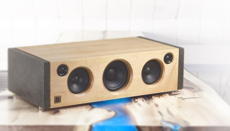 Model 5C is a powerful handmade high-end Bluetooth audio system.  Made of concrete and maple. 160 watts of audio power. By PlanB Audio