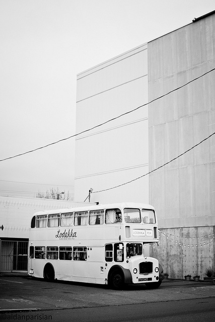 This 1965 Bristol Lodekka is parked next to a fashion retail spot of the same name (Lodekka) in NoPo.  Very cool to find this.  I'm digging the B because of the monochrome nature of the original photo - sky is a flat gray today, and the bus and building next to it were light also, lending to a nice monochrome shot that fits the bill for the bus.