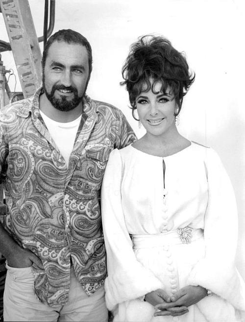 Elizabeth Taylor With brother Howard during the filming of 'Boom!', ....Uploaded By www.1stand2ndtimearound.etsy.com