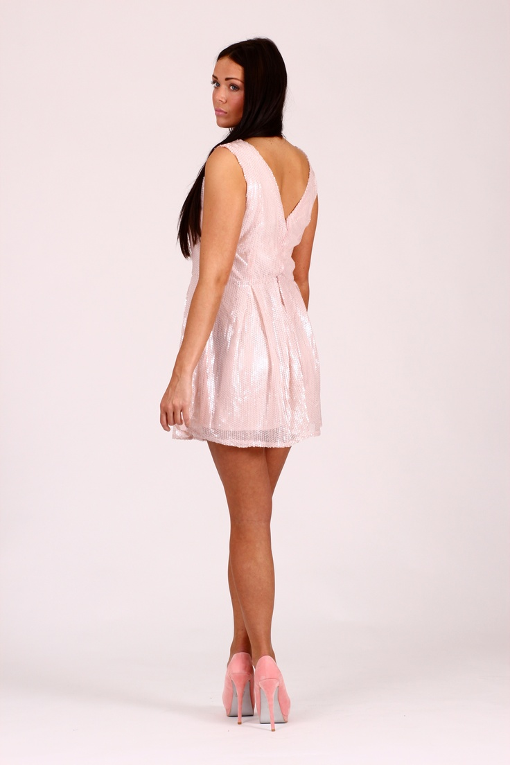 SANA Sequin Skater Dress Pale Pink