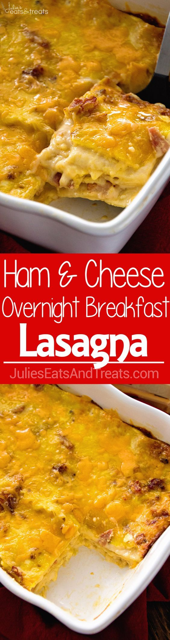 Ham & Cheese Overnight Breakfast Lasagna Recipe ~ Layers of Lasagna Noodles Stuffed with a Delicious Cheese Sauce, Bacon and More Cheese! Prep this the Night Before and Enjoy it for Breakfast or Brunc