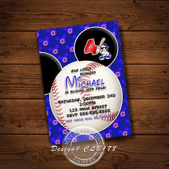 MICKEY BASEBALL INVITATION, Birthday Invitation, Baseball, Chicago Baseball, Baseball Invitation, Chicago, Baseball