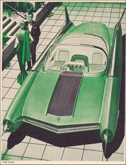 Quaker State Ad, 1956 featuring the Ford Atmos concept car.