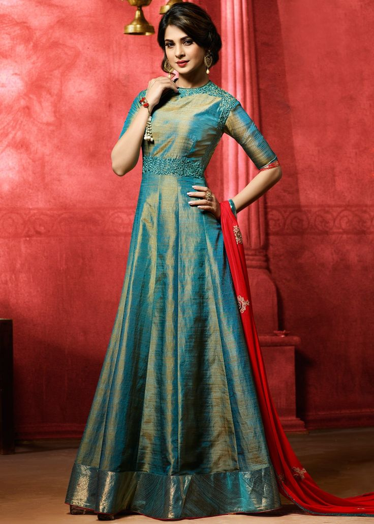 Jennifer Winget Blue Art Silk Anarkali with Dupatta Salwar ...