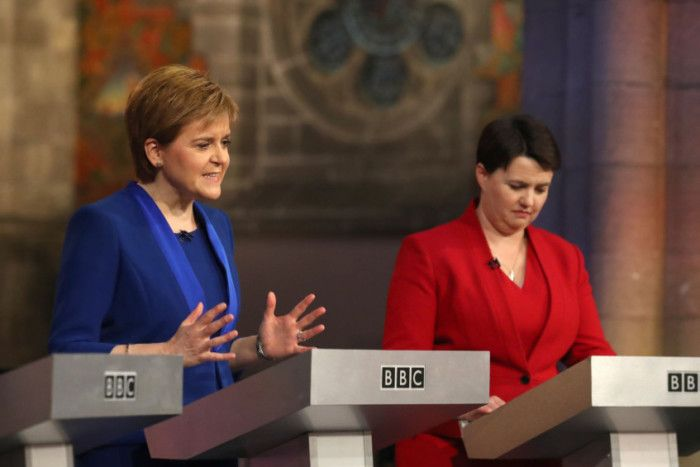 SNP leader and First Minister Nicola Sturgeon and Scottish Conservative leader Ruth Davidson taking part in the Scottish Leaders' debate at the Mansfield Traquair Centre. Picture: PA