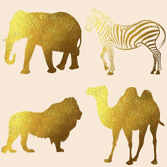 Gold Foil Safari Animals Clipart 48897 Illustrations Design Bundles In 2021 Animal Clipart Safari Animals Animal Silhouette