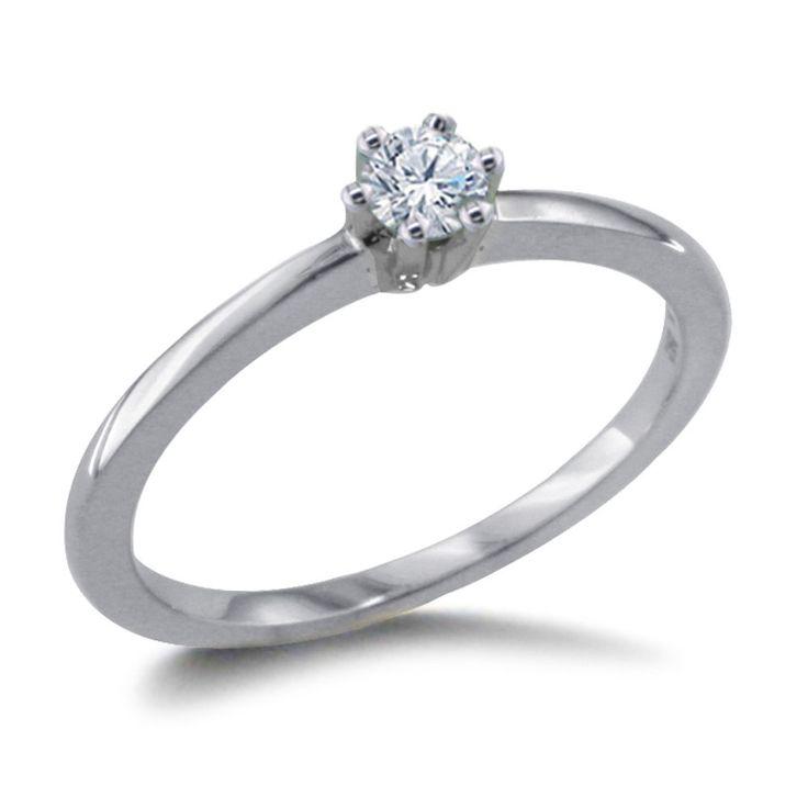 Diamantring 0.10 Karat aus 585er Weißgold  Ein Diamantring aus Weißgold mit einem 0.10 Karat weißen Diamanten im Brillantschliff von www.diamantring.be   #diamantring #weissgold #brillant