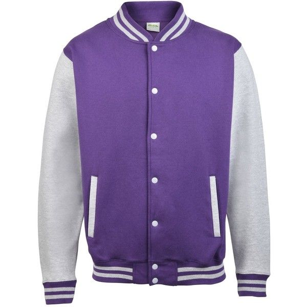 AWDis Hoods Varsity Letterman jacket ($10) ❤ liked on Polyvore featuring outerwear, jackets, varsity bomber jacket, purple jacket, varsity-style bomber jacket, letterman jackets and hooded letterman jacket