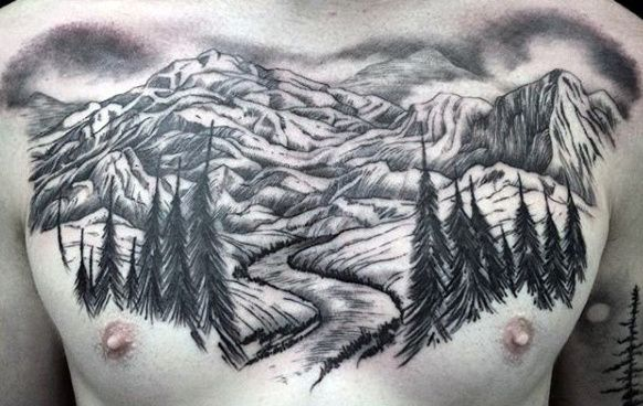 Mountain Forest Male Upper Chest Tattoos