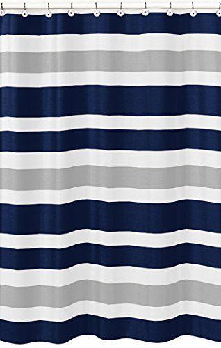 Navy Blue, Gray And White Kids Bathroom Fabric Bath Teen Stripe Shower  Curtain Sweet Jojo