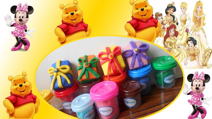 play doh surprise eggs surprise gifts mini Disney toys Pooh Minnie Mouse...