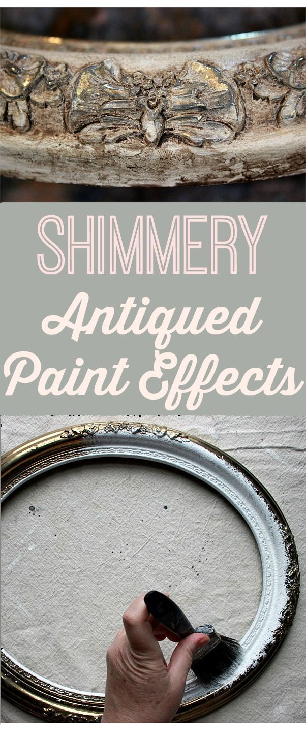 Shimmery Antiqued Paint Effects! Beautiful DIY paint method! Such a great vintage look for Furniture or DIY Home Decor Projects! Great Technique from Thicketworks for Graphics Fairy.