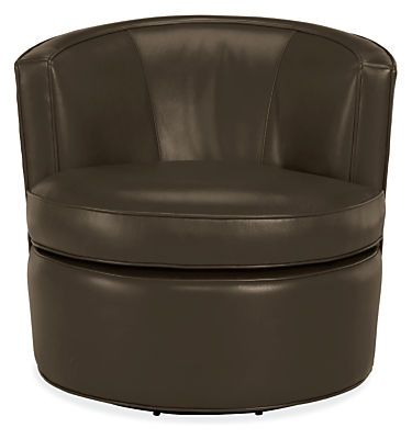 Otis Leather Swivel Chair in Livia Leather - André Sofa and Otis Swivel Chairs Living Room - Living - Room & Board
