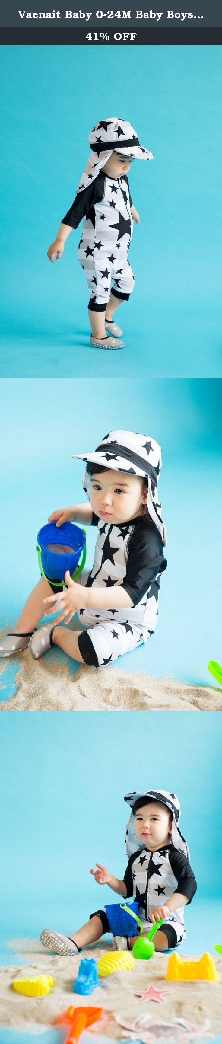 Vaenait Baby 0-24M Baby Boys Rashguard Swimwear with Swimhat 2pcs With Star Baby L. Vaenait Baby's swimwear is made with a high quality nylon/elastane materials. Offers reliable UV coverage in and out of the water. This rashguard swimsuit protect your babies from Sun. Vaenait Baby swimwear is good for active athlete as well as for the recreational swimmer. Each swimwear is enveloped in reusable zipper-locking plastic bag, good for GIFT. Wear most famous Vaenaitbaby's Clothes.