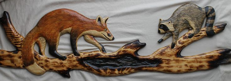 Details about hand carved raccoon cub red fox chainsaw