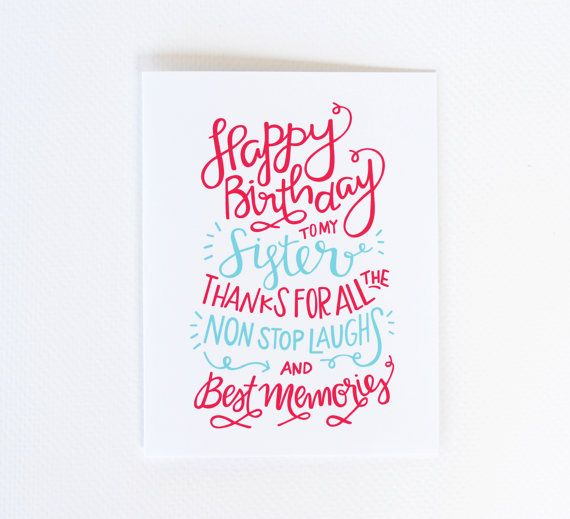Sister Birthday Card, Sister Birthday, Sister Bday, Bday Sister, Happy Bday Sis, Happy Bday Sister, Celebrate Sister (No. BDY03)