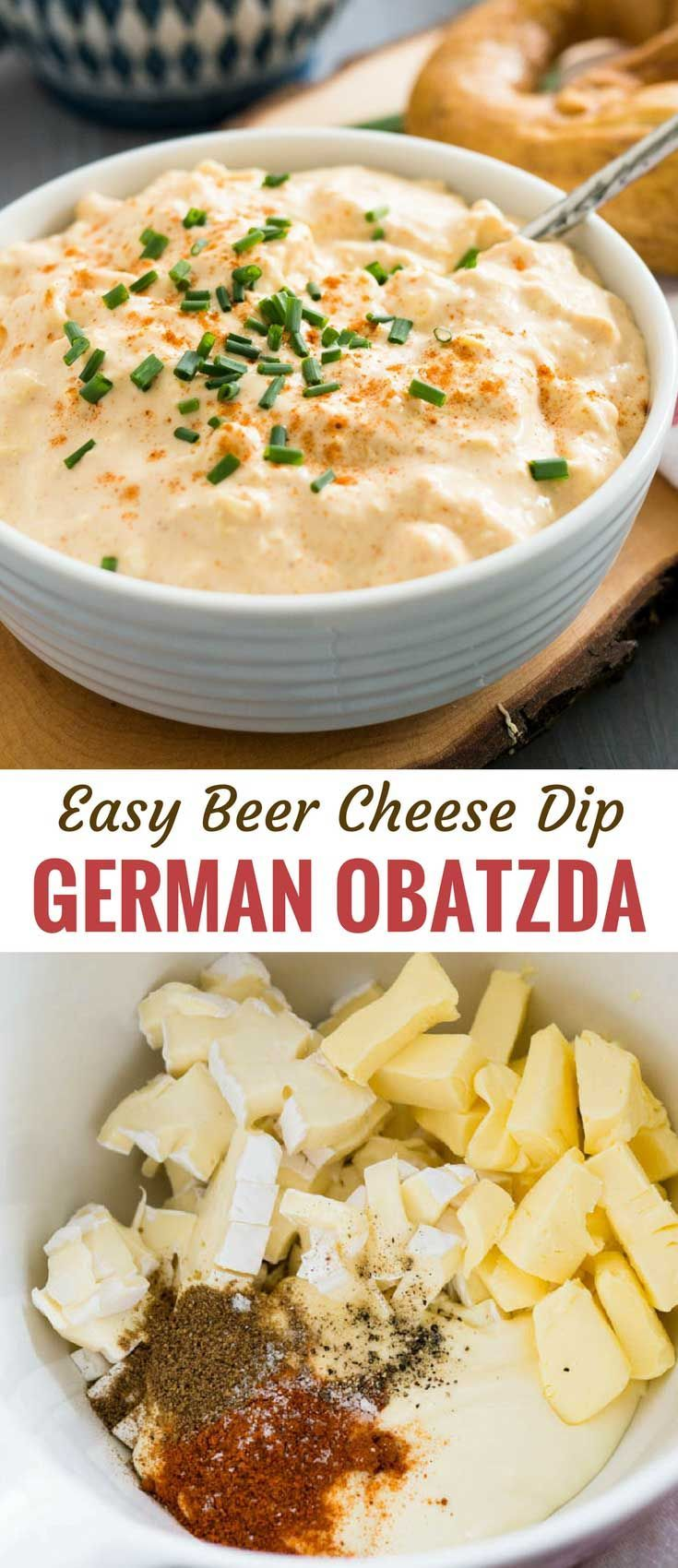 Obatzda, a flavorful German Beer Cheese Dip, is a beer garden classic made with …