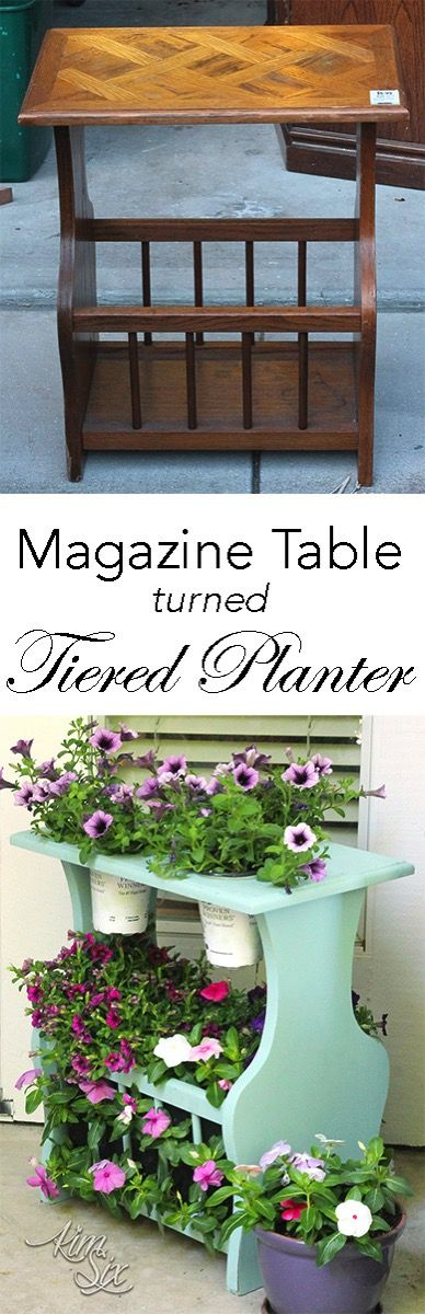 Magazine Table Turned Tiered Planter. A great way to upcycle an old magazine rack, fill it with flowers!.jpg