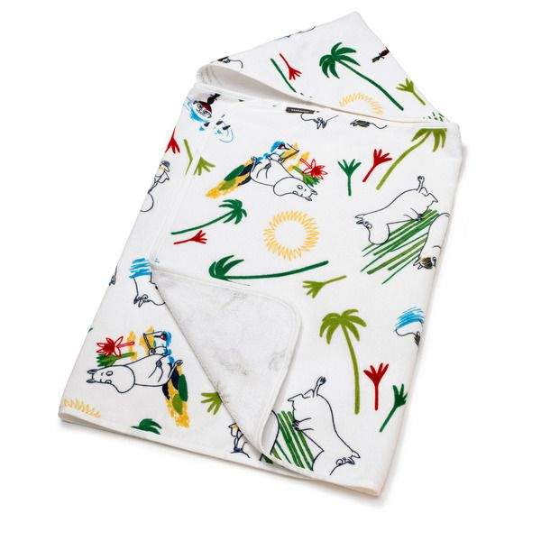 This multicolored headtowel is made for happy bath times. Enjoy moments by the water. The Moomin-towels and bathrobes are inspired by Tove Jansson's original drawings and are authentic ©Moomin Characters™ licensed products.