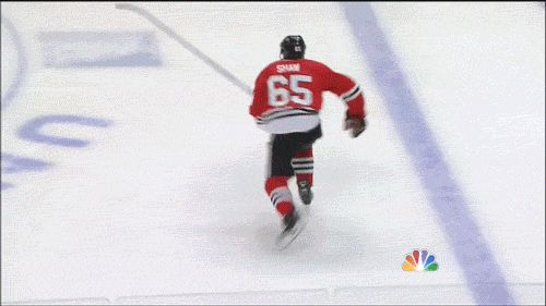 Shaw's monster hit in GIF form | CSN Chicago. I love how Muzzin smiles afterward