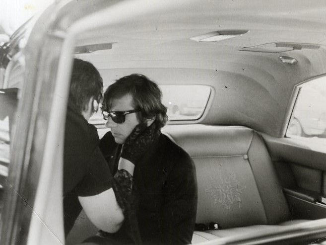 Los Angeles, August 1969, Roman Polanski & Doris Tate during the funeral of Sharon Tate.