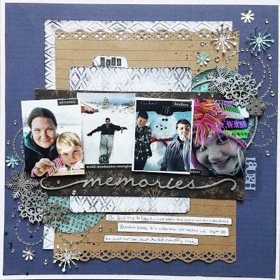 Winter themed scrapbook page with multiple pictures, punches, gems, and so much fun!