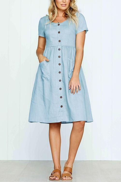 b699e9f256 Venidress Summer V Neck Button Down Vicky Midi Dress – VENI