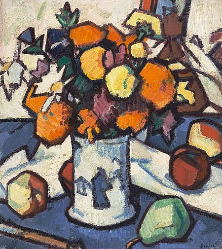 Flowers and Fruit by Samuel Peploe. comes from a series of experimental still lifes. space and volume has been flattened. the form is delineated in thick black outlines. reveals an awareness of the cloisonnist and synthetist styles of painting