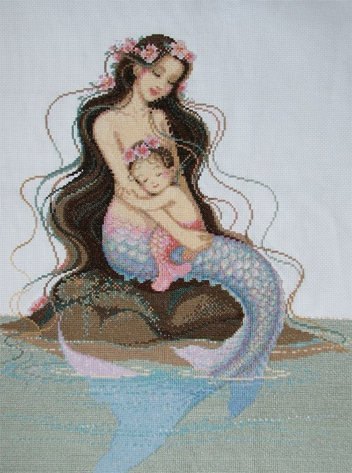 New Finished Completed Cross Stitch  Mermaid  by hubinshow on Etsy, $59.99