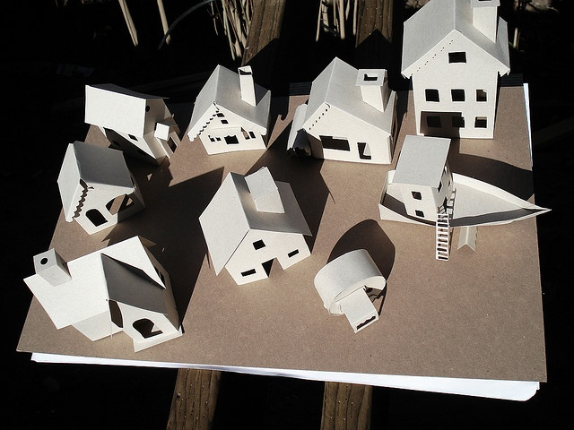 unfinished glitter houses with links for templates. especially love the house boat and caravan that they created.