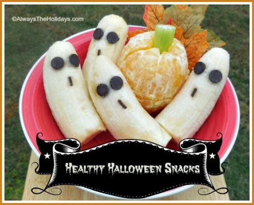 Banana Ghosts & Orange Pumpkins - Healthy Halloween Snacks - Always the Holidays