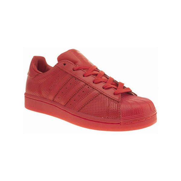 Adidas Red Adicolor Superstar So Icy Trainers (€89) ❤ liked on Polyvore featuring shoes, sneakers, red, adidas trainers, synthetic leather shoes, red shoes, red leather shoes and fleece-lined shoes