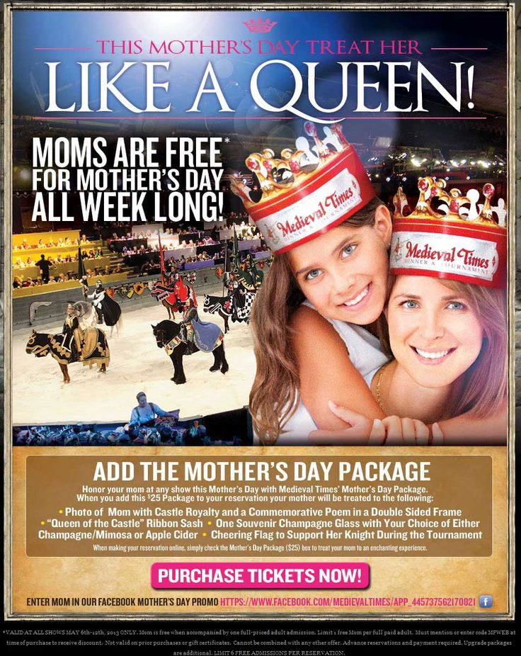 We have 9 Medieval Times coupons for you to choose from including 3 coupon codes, and 6 sales. Most popular now: Celebrate Your Birthday for Free with Medieval Times!. Latest offer: Up to .