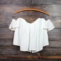 boho chic off the shoulder crop top | white - shophearts - 1