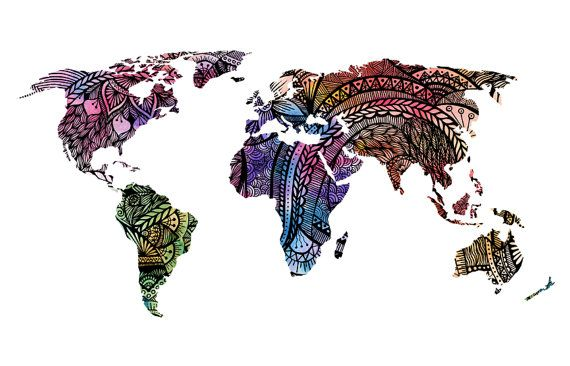Watercolor World Map Art Print Magenta Pink & by WestridgeART