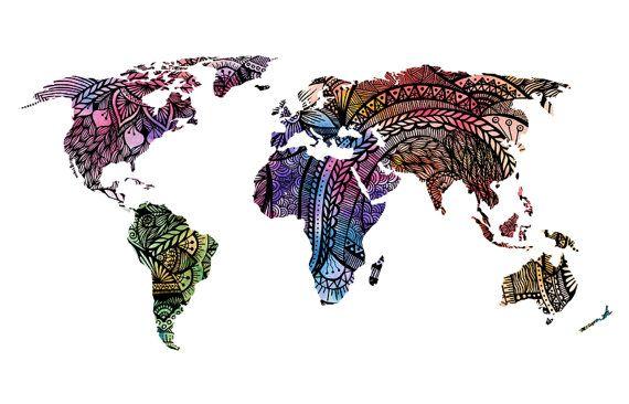 Mundo mapa arte imprimir acuarela color rosa por WestridgeART