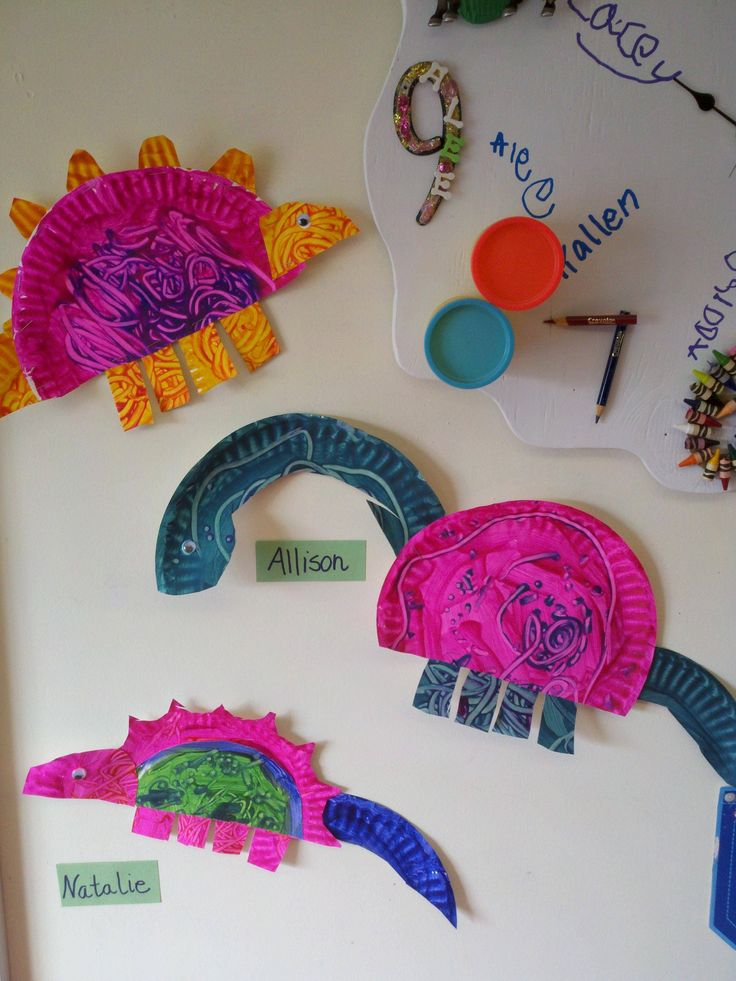 Dinosaur craft with paper plates (image only.) They are probably finger painted plates, which are then cut into shapes and stapled/glued together.